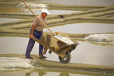 Man pushing wheelbarrow in the salt pans near Guerande in Western Loire, France, Europe