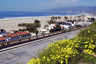 Pacific Coast Highway and Malibu viewed from Palisades Park, Santa Monica, California, United States of America, North America
