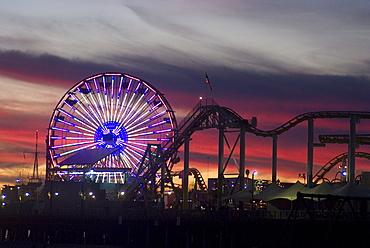 Sunset at the pier, Santa Monica Beach, Santa Monica, California, United States of America, North America