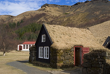 Typical Icelandic house from the last century, Skoga Museum, near Skogafoss, South Iceland, Iceland, Polar Regions