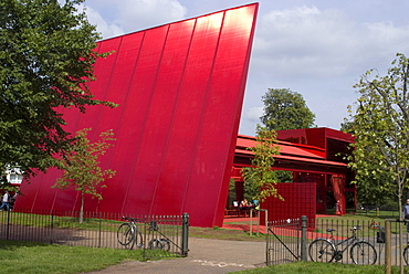 The Red Sun Pavilion designed by Jean Nouvel, the 2010 architecture project for the Serpentine Gallery, London W2, England, United Kingdom, Europe