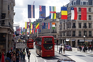 Flags, Regent Street, West End, London, England, United Kingdom, Europe