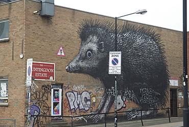Hedgehog by Roa, Chance Street, London, E1, England, United Kingdom, Europe
