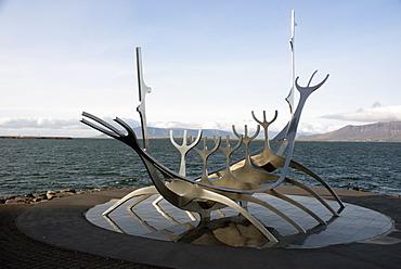 Sculpture of the Sun Voyager, the harbour, Reykjavik, Iceland, Polar Regions