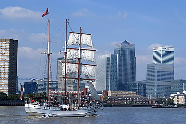 Tall Ship at the Tall Ships Festival, near Canary Wharf, London, E14, England, United Kingdom, Europe