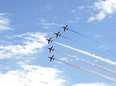 The Red Arrows at the VE Day Anniversary Air Show at Duxford, Cambridgeshire, England, United Kingdom, Europe