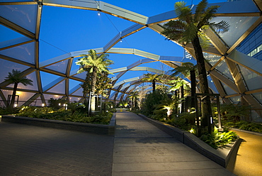 The roof garden of the Crossrail Terminal, Canary Wharf, London, England, United Kingdom, Europe