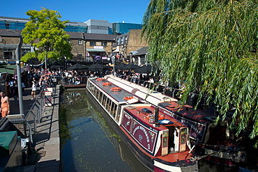The waterbus at Camden Lock, London, NW1, England, United Kingdom, Europe