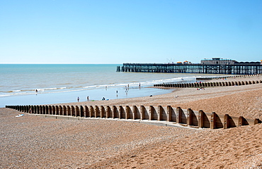 The beach and pier at Hastings, East Sussex, England, United Kingdom, Europe