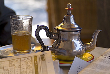 Typical mint tea, Cafe des Negociants, Gueliz (new town), Marrakech, Morocco, North Africa, Africa