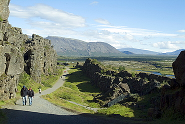 Thingvellir, site of original 10th century Althingi (Parliament) and geographical rift between Europe and North America, Iceland, Polar Regions