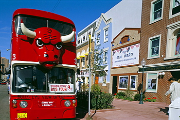 Red double decker bus, Chicago, Illinois, United States of America, North America
