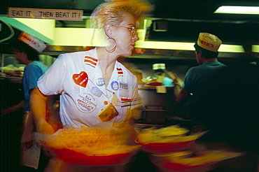 Fast service in fast food restaurant, Chicago, Illinois, United States of America, North America