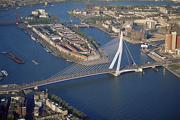 Aerial view of the Erasmus bridge, Rotterdam, Holland, Europe