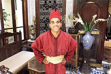 Portrait of a hotel worker in uniform, Hotel Ryad Arabesque, Fez, Morocco, North Africa, Africa