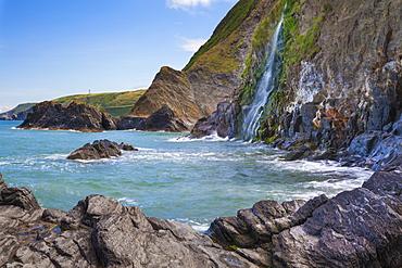 Waterfall, Tresaith Beach, Ceredigion, West Wales, United Kingdom, Europe