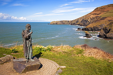 Statue of St. Carannog, Llangrannog Beach, Ceredigion (Cardigan), West Wales, Wales, United Kingdom, Europe