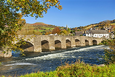 Bridge over River Usk, Crickhowell, Powys, Brecon, Wales, United Kingdom, Europe