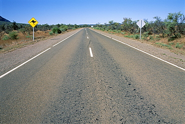 Kangaroo sign and empty road, Flinders Range, South Australia, Australia, Pacific