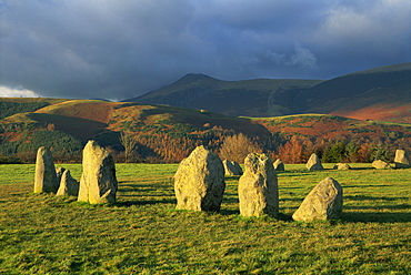 Preshitoric archaeological site, Castlerigg Stone Circle, standing stones, with mountains beyond, near Keswick, Lake District National Park, Cumbria, England, United Kingdom, Europe
