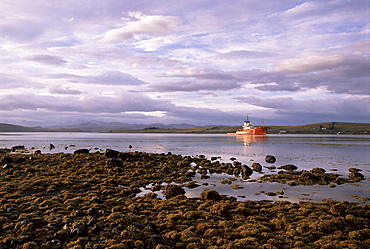 Coastguard ship on Loch Ewe, Aultbea, Wester Ross, Highland region, Scotland, United Kingdom, Europe