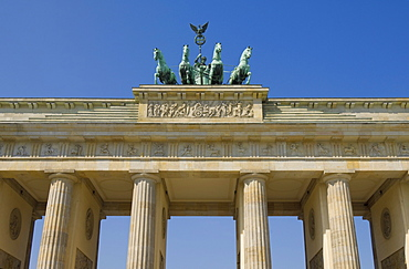 The Brandenburg Gate with the Quadriga winged victory statue on top, Pariser Platz, Berlin, Germany, Europe