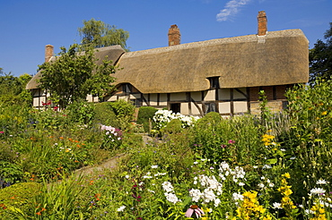 The cottage garden at Anne Hathaway's thatched cottage, home of Shakespeare's wife, Shottery near Stratford-upon-Avon, Warwickshire, England, United Kingdom, Europe