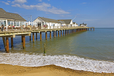 Southwold pier in the early afternoon sunshine, Southwold, Suffolk, England, United Kingdom, Europe