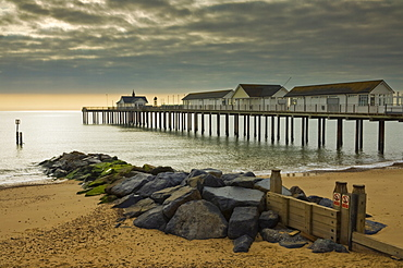 Southwold pier in the early morning, Southwold, Suffolk, England, United Kingdom, Europe