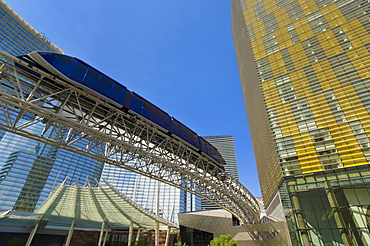 Monorail in front of the Aria Resort Hotel and Veer Towers Condo Hotel, CityCenter complex, Las Vegas Boulevard South, The Strip, Las Vegas, Nevada, United States of America, North America