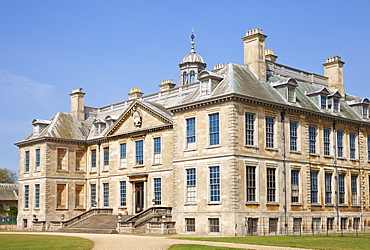 Front facade of Belton House, a country house built by the Brownlow family near Grantham, Lincolnshire, England, United Kingdom, Europe