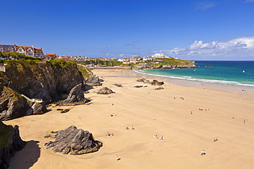 Newquay Beach in summer, Cornwall, England, United Kingdom, Europe
