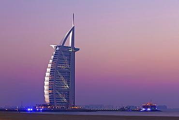 Burj al Arab hotel at sunset, Dubai, United Arab Emirates, Middle East