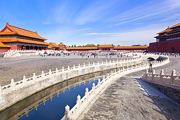 Inner Golden Water river flowing through the Outer Court, Forbidden City, Beijing, China, Asia