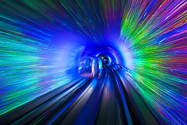 The Bund Sightseeing Tunnel under the Hangpu River, Shanghai, China, Asia