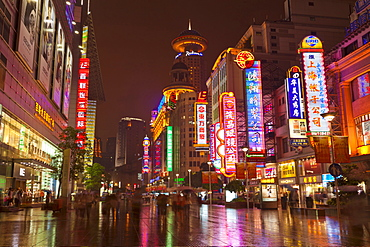 Neon signs and shoppers, Nanjing Road, Shanghai, China, Asia
