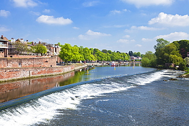 Chester Weir crossing the River Dee at Chester, Cheshire, England, United Kingdom, Europe