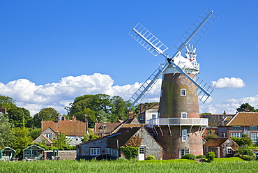 Restored 18th century Cley Windmill, Cley next the Sea, Norfolk, East Anglia, England, United Kingdom, Europe