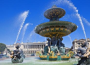 Fountains in the Place de la Concorde, Paris, France, Europe