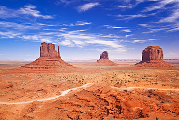 West Mitten Butte, East Mitten Butte and Merrick Butte, The Mittens, Monument Valley Navajo Tribal Park, Arizona, United States of America, North America