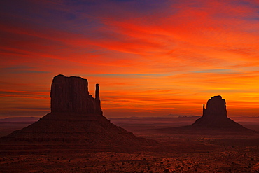 West Mitten Butte and East Mitten Butte, The Mittens at sunrise, Monument Valley Navajo Tribal Park, Arizona, United States of America, North America