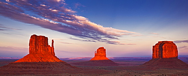 West Mitten Butte, East Mitten Butte and Merrick Butte, The Mittens at sunset, Monument Valley Navajo Tribal Park, Arizona, United States of America, North America