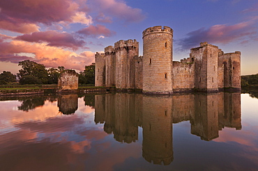 Bodiam Castle and moat, a 14th century castle at sunset, Robertsbridge, East Sussex, England, United Kingdom, Europe