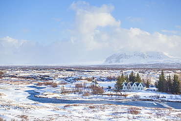 Thingvallabaer and River Oxara, Thingvellir National Park, UNESCO World Heritage Site, Iceland, Polar Regions