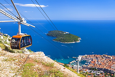 Cable car, Lokrum Island and Dubrovnik Old Town view, Dalmatian Coast, Dubrovnik, Croatia, EU, Europe
