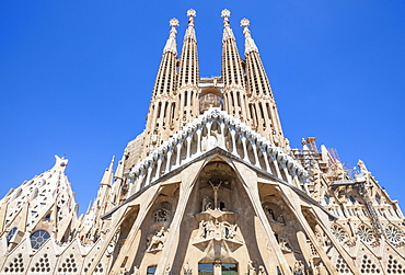 La Sagrada Familia church designed by Antoni Gaudi, back view, UNESCO World Heritage Site, Barcelona, Catalonia (Catalunya), Spain, Europe