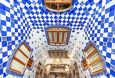 Inside atrium of Casa Batllo, a modernist building by Antoni Gaudi, UNESCO World Heritage Site, Passeig de Gracia, Barcelona, Catalonia (Catalunya), Spain, Europe