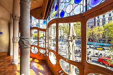 Stained glass in Casa Batllo, a modernist building by Antoni Gaudi, UNESCO World Heritage Site, Passeig de Gracia, Barcelona, Catalonia (Catalunya), Spain, Europe