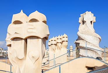 Chimney sculptures on the roof of Casa Mila (La Pedrera) by Antoni Gaudi, UNESCO World Heritage Site, Barcelona, Catalonia (Catalunya), Spain, Europe