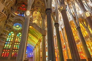La Sagrada Familia church, basilica interior with stained glass windows by Antoni Gaudi, UNESCO World Heritage Site, Barcelona, Catalonia (Catalunya), Spain, Europe